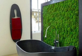 стена из мха в ванной